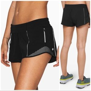 Lululemon NWT Reflective Black Hotty Hot Shorts, 8